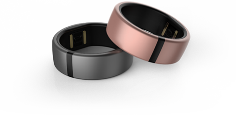 Two Motiv rings, one gray, one rose